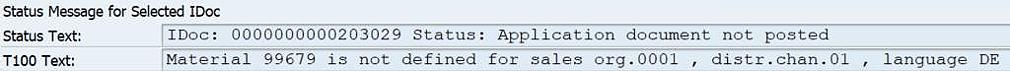 Sample content error message of an SAP IDoc