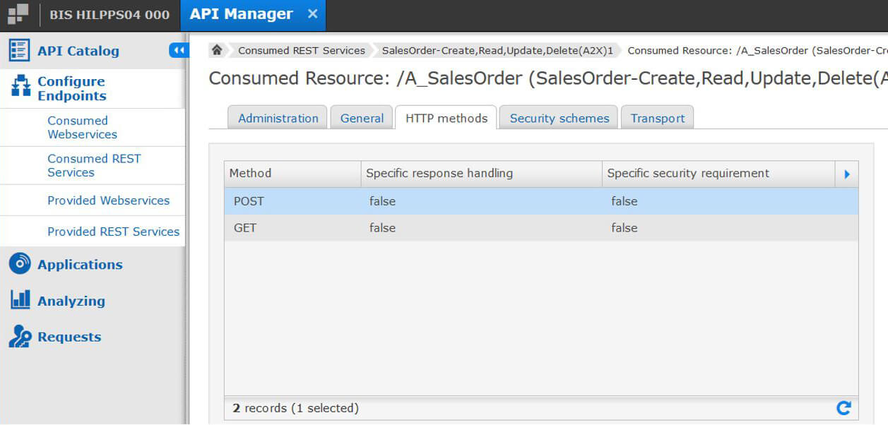 User Interface of the SEEBURGER API Manager