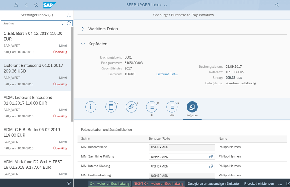 Ablauf in der SEEBURGER Purchase-to-Pay Inbox für SAP Fiori Inbox